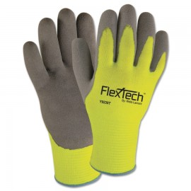 FlexTechTM Hi-Visibility Knit Thermal Gloves with Latex Palm,1PR