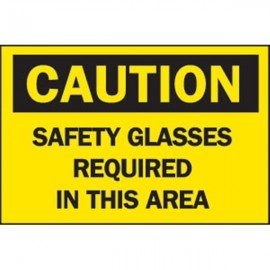 """Brady® """"Caution: Safety Glasses Required,Sign"""