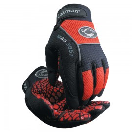 Caiman®Silicon Grip Gloves, Large, Red/Black