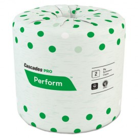 Cascades Pro®Perform Standard Bathroom Tissue, Septic Safe, 2-Ply, White, 4 x 3 1/2, 336 Sheets/Roll, 48