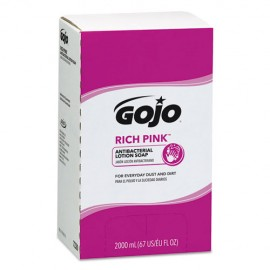Gojo® Rich Pink Antibacterial Lotion Soap Refill, Floral, 2,000 mL,
