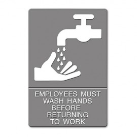 Headline® ADA Sign, EMPLOYEES MUST WASH HANDS... Tactile Symbol/Braille, 6 x 9, Gray