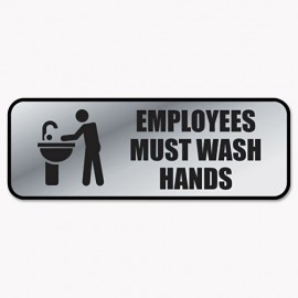 Cosco® Brushed Metal Office Sign, Employees Must Wash Hands, 9 x 3, Silver