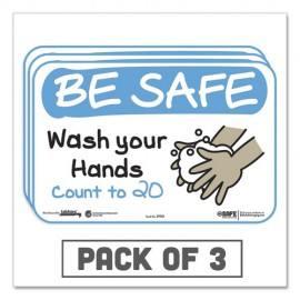 """Tabbie® BeSafe Messaging Education Wall Signs, 9 x 6, """"Be Safe, Wash Your Hands, Count to 20"""", 3/Pack"""
