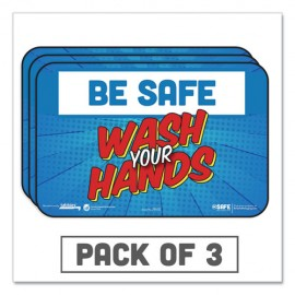"""Tabbie® BeSafe Messaging Education Wall Signs, 9 x 6, """"Be Safe, Wash Your Hands"""", 3/Pack"""
