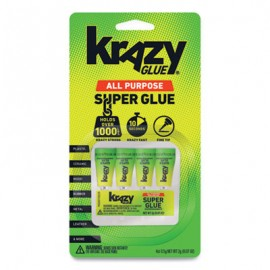 Krazy Glue® Single-Use Tubes, 0.07 oz, Dries Clear, 4/Pack