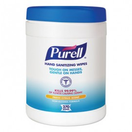 Purell® Sanitizing Hand Wipes, 6 x 6 3/4, White, 270 Wipes/Canister
