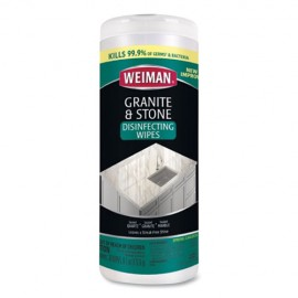 Granite and Stone Disinfectant Wipes, 6/30CT -Weiman