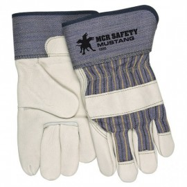 Mustang™ Leather Palm Gloves, Blue Striped/Natural, 1PR