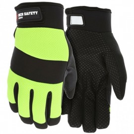 MCR ® Mechanics Synthetic Leather Palm Insulated Gloves,Lime